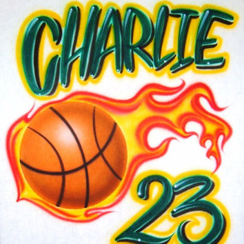 Airbrush T Shirt Basketball Name Number, Airbrush Basketball Shirt, Basketball Shirt, Airbrushed Basketball Team Name And Number Shirt