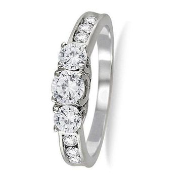 AGS Certified | 1 Carat TW Diamond Three Stone Ring in 10K White Gold (K-L Color, I2-I3 Clarity)