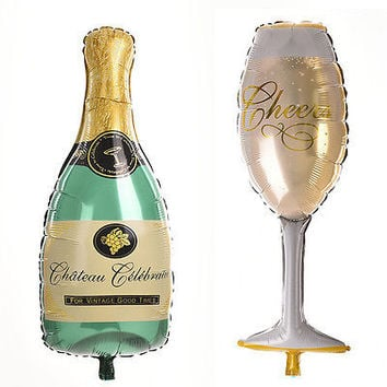 Champagne Bottle Glass Foil Balloons Happy Birthday & Wedding Party Decor TB