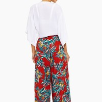 Hanalei High Waisted Flowy Pant - Red/Blue Floral