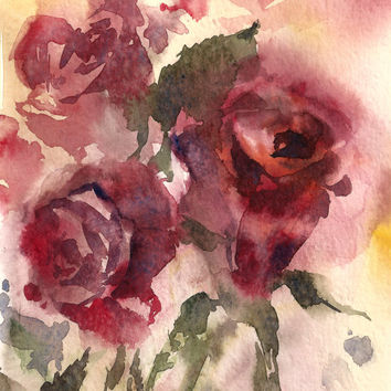 Roses - Original Watercolor Painting - Watercolour Art - Abstract Art - Flowers Painting - Red