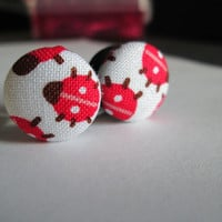 Red and White Lady Bugs - Fabric Covered Button Plugs- Available in 0g, 00g, and 1/2 in.