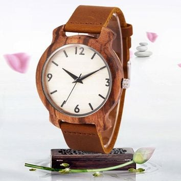 SIHAIXIN zebra wooden watches for men Digital white dial brown leather band unique classic vintage quartz wristwatch male clock