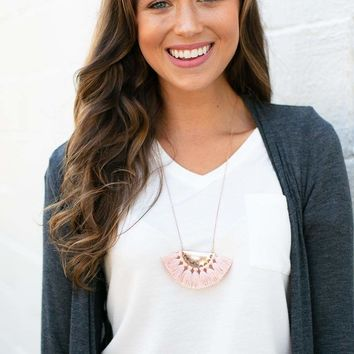 I'm Your Biggest Fan Blush Tassel Necklace