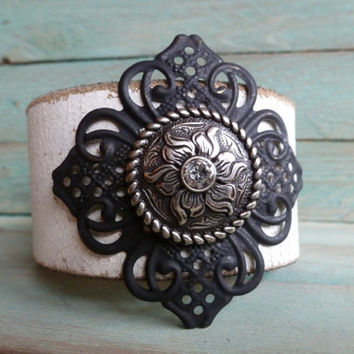 New.....Distressed White Leather Cuff Bracelet with Black Filigree Flower and Crystal Concho GYSPY..BOHO..WESTERN