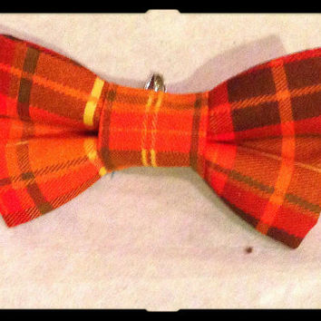 Orange bow tie, orange hair bow, plaid bow, Thanksgiving Bow tie, Thanksgiving Hair Bow, Baby Thanksgiving - turkey day bow