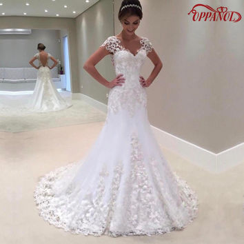 Vestido De Noiva 2017 Discount  Wedding Gowns Bridal Dresses Popular Mermaid Short Sleeves Court Train Lace Wedding Dress WD342