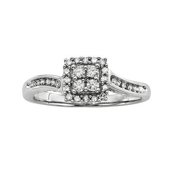 Simply Vera Vera Wang Round-Cut Diamond Halo Engagement Ring in 14k White Gold (1/4 ct. T.W.)