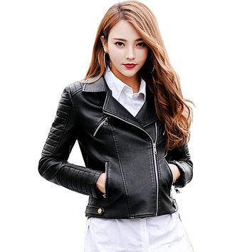 Women 2017 Leather Jacket For Black White Casual Zippers Long Sleeves Women's Fashion New Autumn Jacket