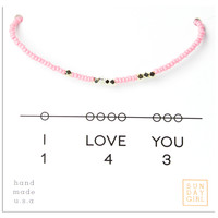 Friendship Bracelet- I Love You 143 - Pink