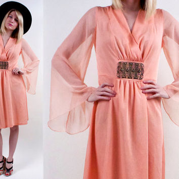 Vintage 60s 70s Coral Bell Sleeve Mini Dress ANGEL plunging flowy Grecian Goddess tunic sheer bohemian hippie S
