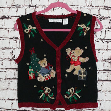 90s ugly christmas sweater vest jumper black red fuzzy teddy holiday theme bear hipster lolita party S M L 80s