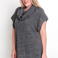 Plus Cowl Neck High Low Tunic