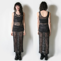 90s Black Sheer Lace Maxi Dress // Long Sheer Dress // Long Lace Dress // Sheer Maxi Dress // Size Small // Witchy Goth