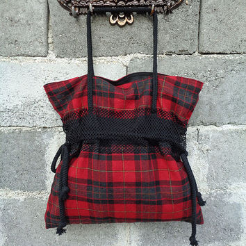 Large Tote bag handbag purse Punk Goth Emo Rock Tartan