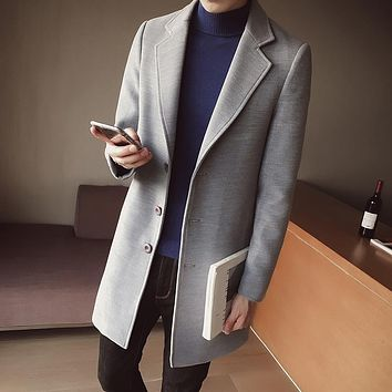 LEFT ROM Male winter high-grade warmth slim Fit Cashmere coat/men pure color lapel Casual jacket/Trench coat Large size S-5XL
