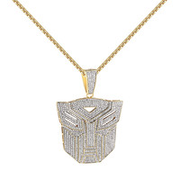 """14k Gold Finish Transformers Face Pendant Full Iced Out Simulated Diamond 24"""" Free Chain"""