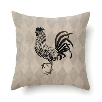 French decor, throw pillow cover, rustic decor, vintage style, Rooster pillow, rooster decor, tan pillow, brown pillow, French country decor