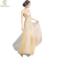 New Luxury Gold Long Evening Dress Sequined Sleeveless Straight Slim Sexy Floor-length Banquet Formal Party Gown