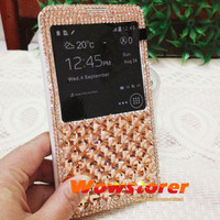 Bling crystal Smart Wake View flip fold folio leather case cover for Samsung galaxy note 3 N9000 s4 i9500 mega 6.3 i9200 No.94