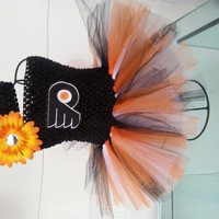 Girls Flyers Baby Toddler TUTU dress Philadelphia flyers sports team kids Orange black white tutu/ flyers embroidery patch/ flower headband