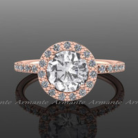 Halo Natural White Sapphire & Diamond Rose Gold Bridal Ring