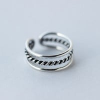 Stylish Jewelry Gift Shiny New Arrival 925 Silver Punk Twisted Double-layered Hollow Out Accessory Ring [8380579975]