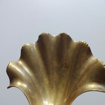 Vintage Brass Seashell Soap Dish 1980s