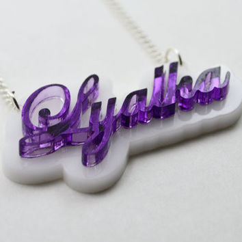 Laser Cut Acrylic Name Necklace - Custom Style and Color