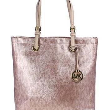 MICHAEL Michael Kors Handbag Signature Metallic North South Tote (Rose Gold)
