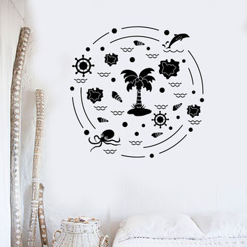 Vinyl Wall Decal Beach Style Palm Octopus Marine Nautical Art Stickers Mural Unique Gift (ig5054)