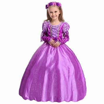 Fashion children's dressing up outfits girls dresses for party with crystal rapunzel costumes for kids