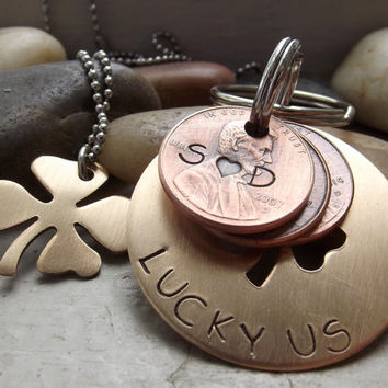Lucky us Bronze four leaf clover cutout version keychain or with bronze four leaf clover pendant set, 8th wedding gift