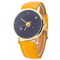 Womens mens Watch Attractive Planet Pattern PU Leather Quartz Watch Analog Unisex Wrist Watches Relojes Mujer Montre Femme
