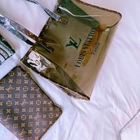 Louis Vuitton LV Women's Transparent Jelly Two-Piece Shopping Tote Shoulder Bag