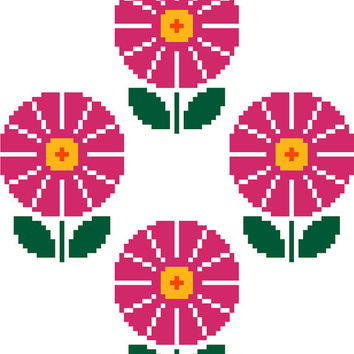 Retro pink daisies, modern cross stitch pattern. Contemporary floral cross stitch.