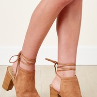 Show Stopping Tan Suede Lace Up Heels
