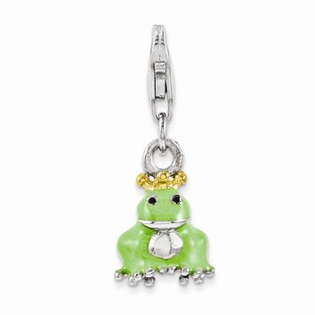 Sterling Silver Enameled Gold-plated Frog W/ Crown Charm