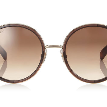 Jimmy Choo - Andie Havana Brown Acetate Round Framed with Gold Silver Crystal Fabric Detailing Sunglasses