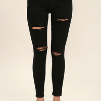 Aline Black Distressed Skinny Jeans