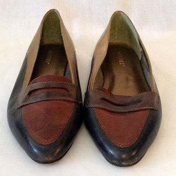 multi tone vintage penny loafers