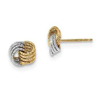 14k Yellow and White Gold Two-Tone Textured Love Knot Post Earrings Length 7.5mm