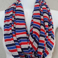 Striped Patriotic Infinity Scarf Fourth of July Scarf Red White and Blue Scarf Spring Scarf 4th of July Scarf July 4 Scarf Memorial Day