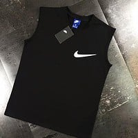 """Nike"" Trending Women Men Summer Chest Hook Print Vest Tank Top Tee Black I-AA-XDD"
