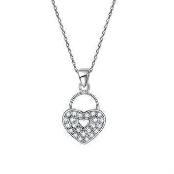 Love Heart Lock 25 Sterling Silver Pendant Necklace Lady Jewelry