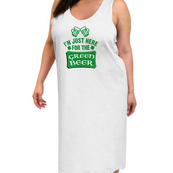Just Here For The Green Beer Adult Tank Top Dress Night Shirt
