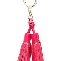 double leather tassel keychain