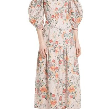 Rebecca Taylor Marlena Off the Shoulder Floral Midi Dress | Nordstrom