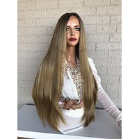 """Ombré  Honey Balayage Brown Blonde SWISS Lace Front Wig 