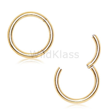 14k Gold Hinged Clicker CUSTOM MADE ORDER 18g Septum Ring Yellow White Rose Gold 16G Segment Solid Gold 14g Nose Hoop Lip Nipple Cartilage